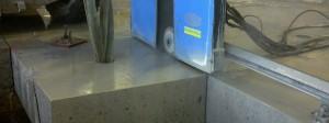Corte de baldosa de hormigón